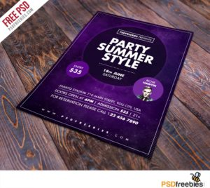Creative Summer Party Flyer Free PSD Template
