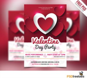 Creative Valentine Day Party Flyer Free PSD