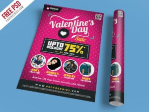 Creative Valentines Day Shopping Sale Flyer Template PSD