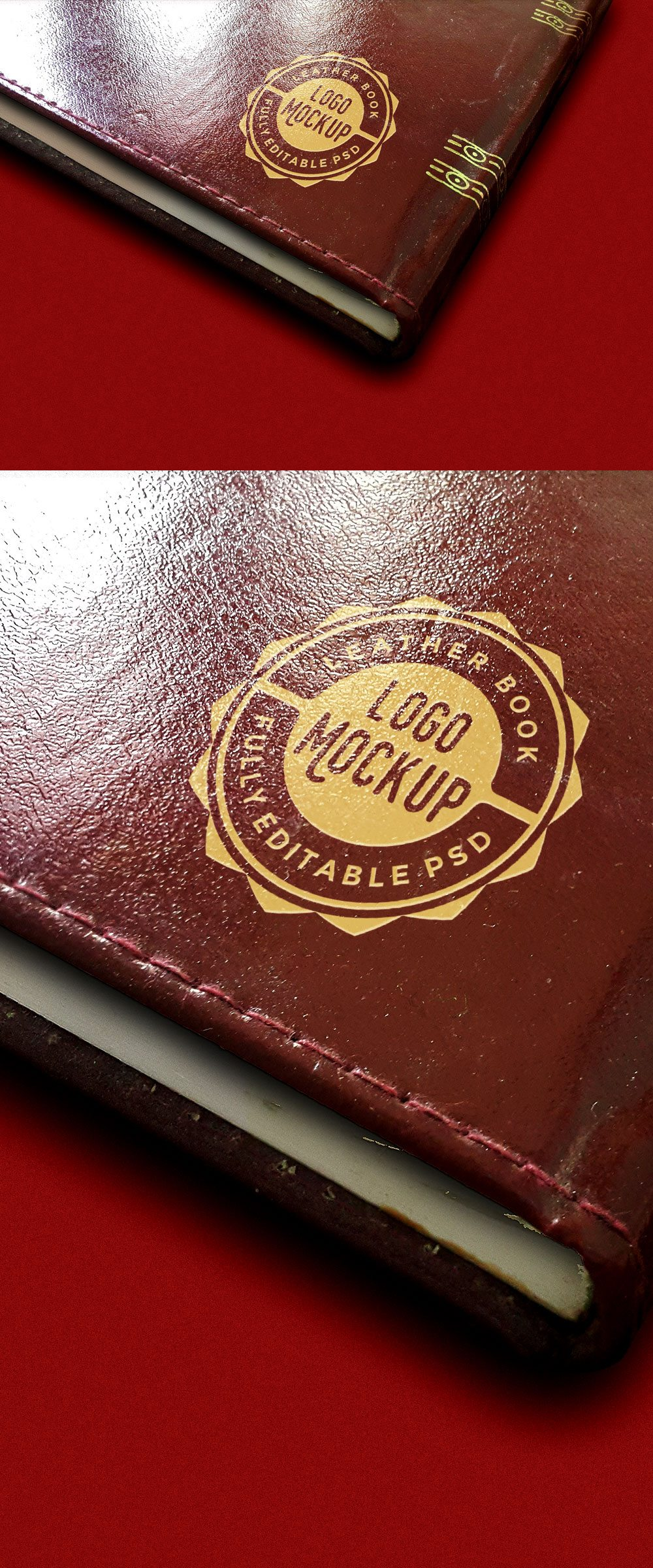 Creative Vintage Leather Book Logo Mockup