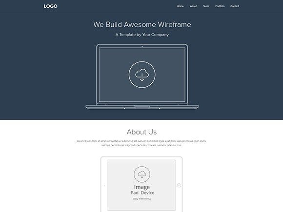 Creative Web wireframe layout PSD