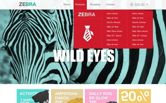 Creative Zebra: ecommerce website template PSD