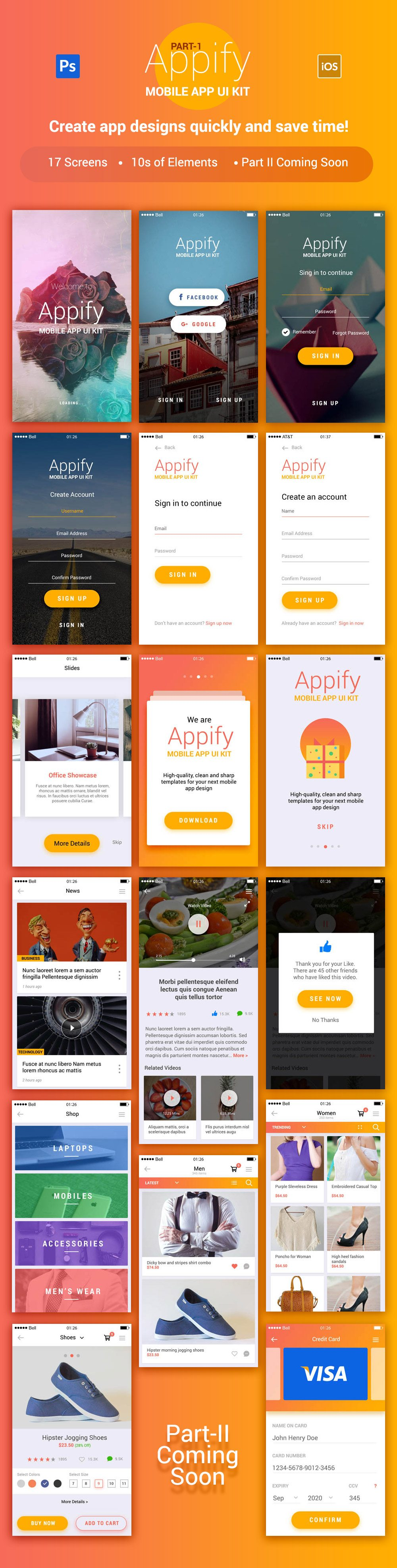 Creative Appify: Free Mobile App UI Kit Vol.1