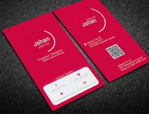 beautiful red vertical business card