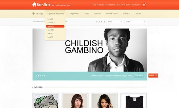 Creative Bonfire Ecommerce PSD template