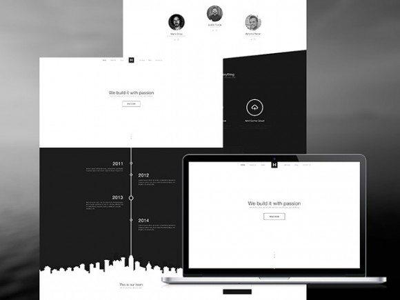 Creative B&W website template ‰ÛÒ PSD