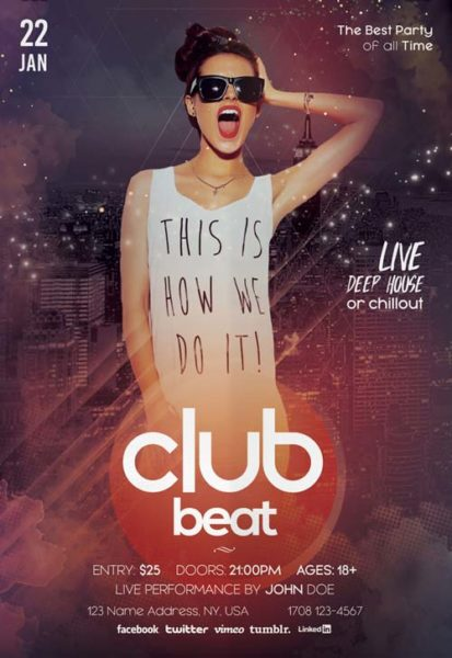 Club Beat Party Free PSD Flyer Template