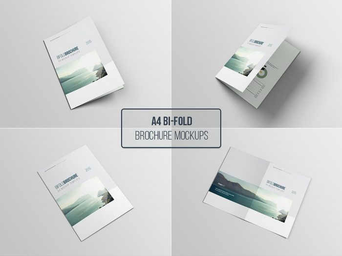 A4 Bifold Brochure Mockup psd