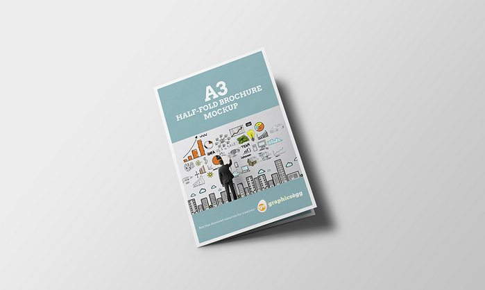 Half-Fold Brochure Mockup psd