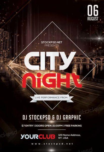 City Night Free PSD Flyer Template