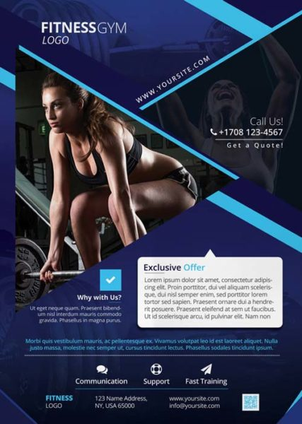 Fitness Gym Sports Free PSD Flyer Template