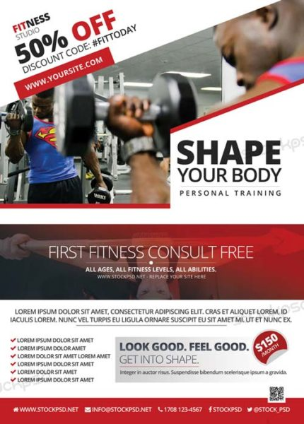 Fitness Gym Freebie PSD Flyer Template
