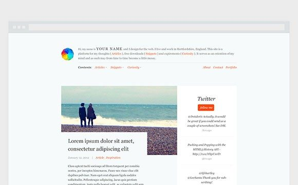 Creative Free blog theme PSD