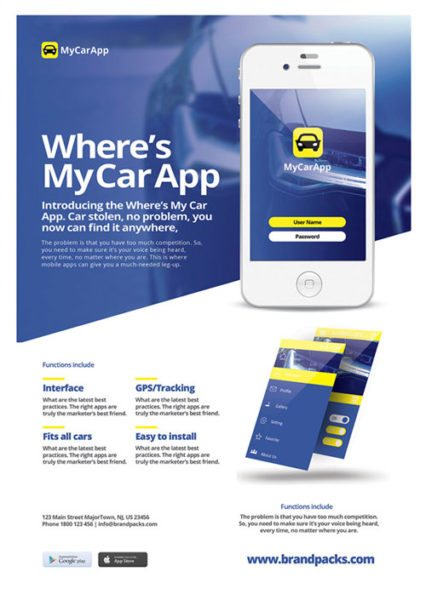 Free Mobile App Poster and Flyer Template