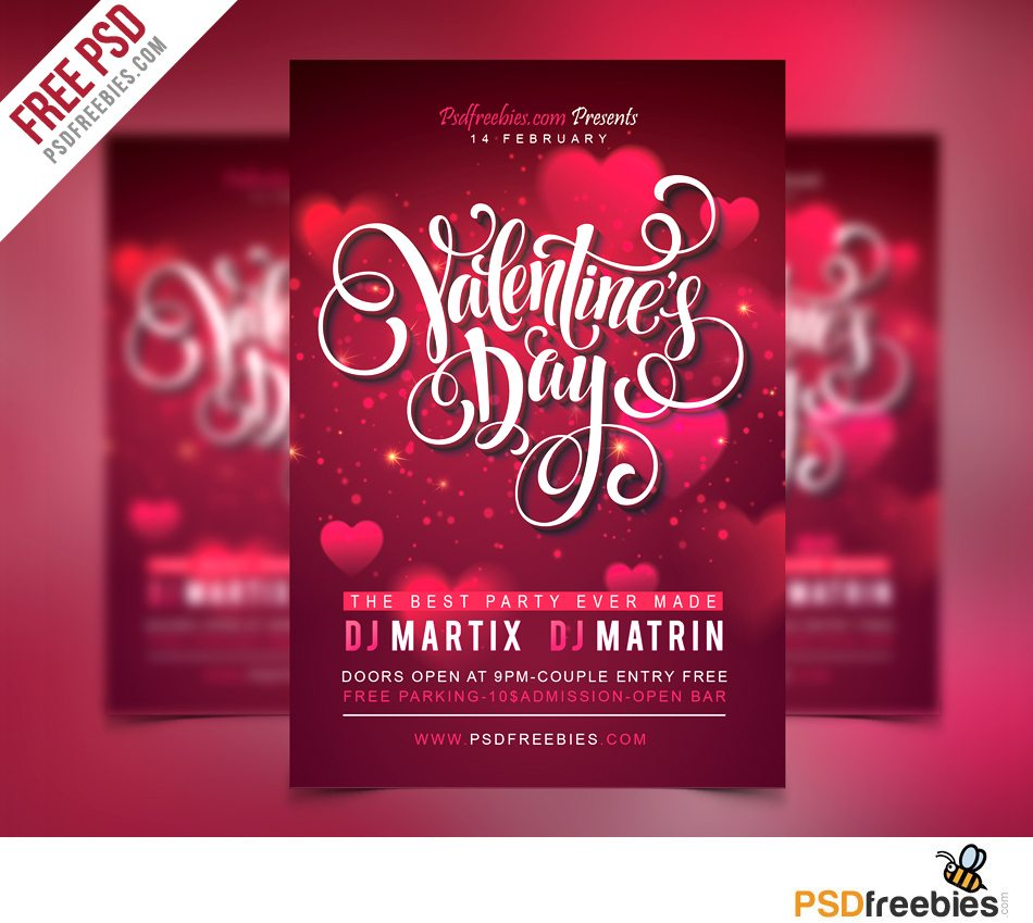 Creative Free Valentines Party Flyer PSD Template