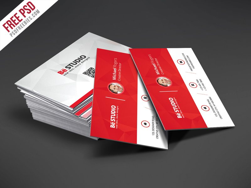 Creative Creative Red Business Card Free PSD Template