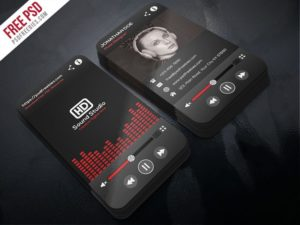 Creative Music Player Style Business Card Template PSD