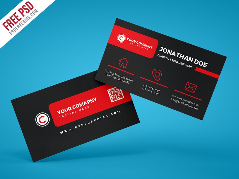 Creative Black Corporate Business Card PSD Template
