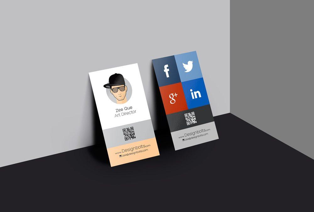 Creative Vertical Business Card Design Mockup Free PSD