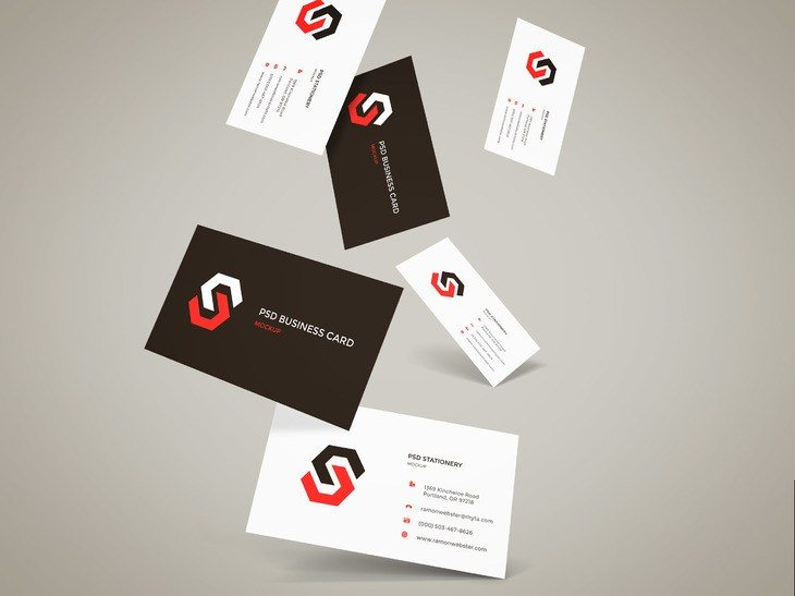 Creative Flying Business Cards Mockup Free PSD