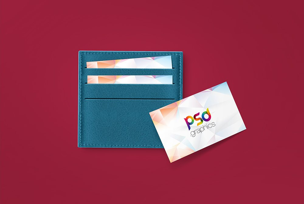Creative Business Card in Wallet Mockup Free PSD