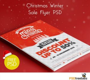 Creative Christmas Winter Sale Flyer PSD Freebie