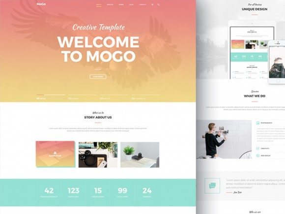 Creative MoGo: Free one page PSD template