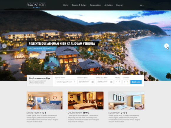 Creative Paradise Hotel ‰ÛÒ PSD website template