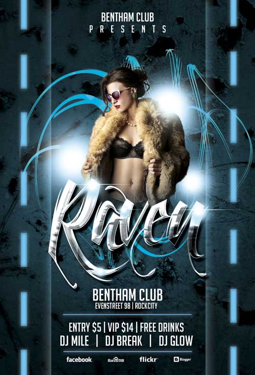 Free Raven Club Party Flyer Template