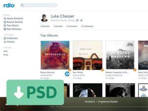 Creative Rdio redesigned UI PSD