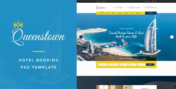 QueensTown : Hotel Booking PSD Template