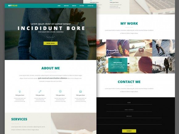 Creative Single page portfolio ‰ÛÒ Free PSD