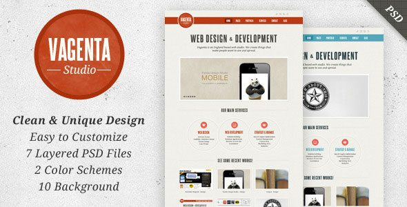 Vagenta - Clean & Unique PSD Themeforest Template