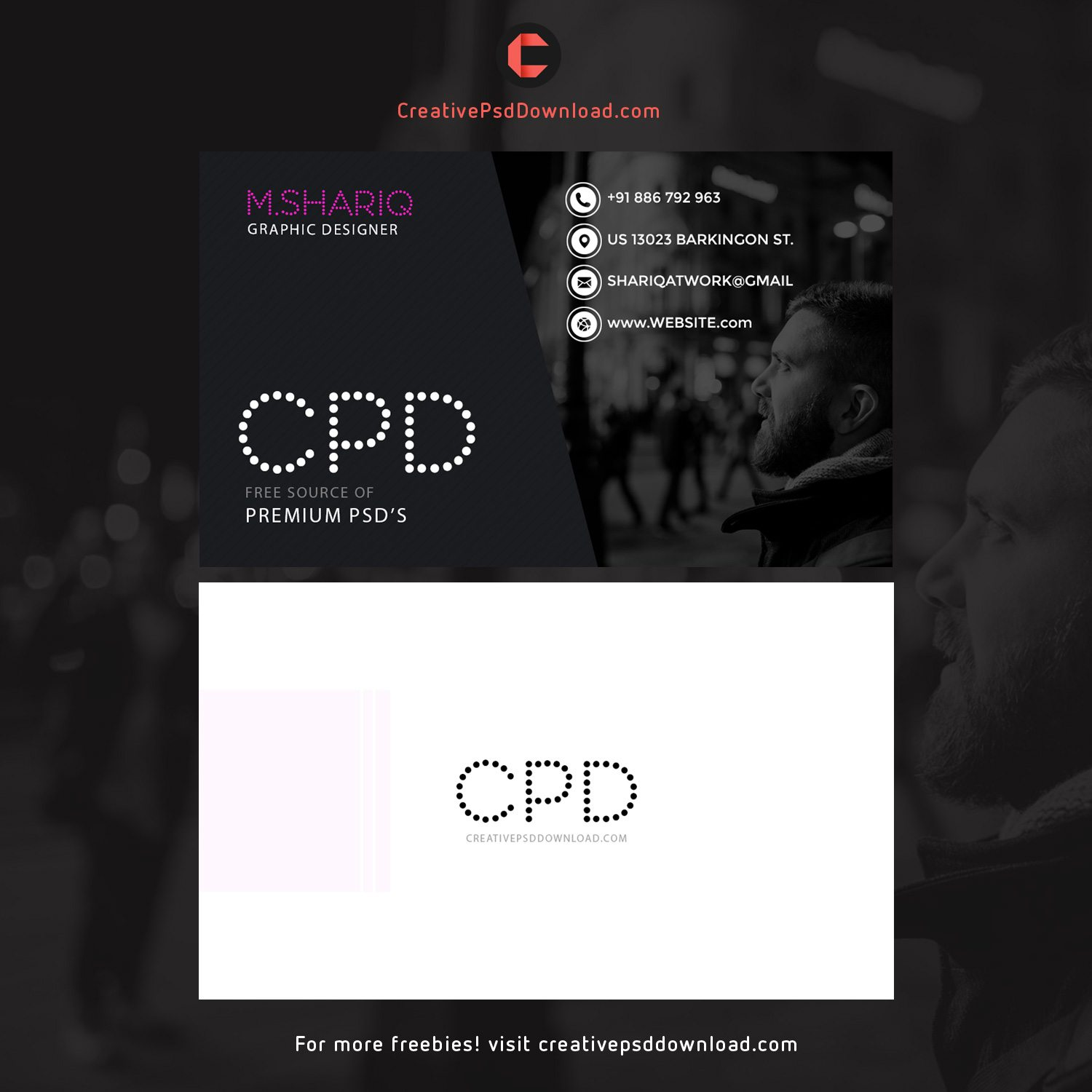 Dark Theme Graphic Designer Business Card Template