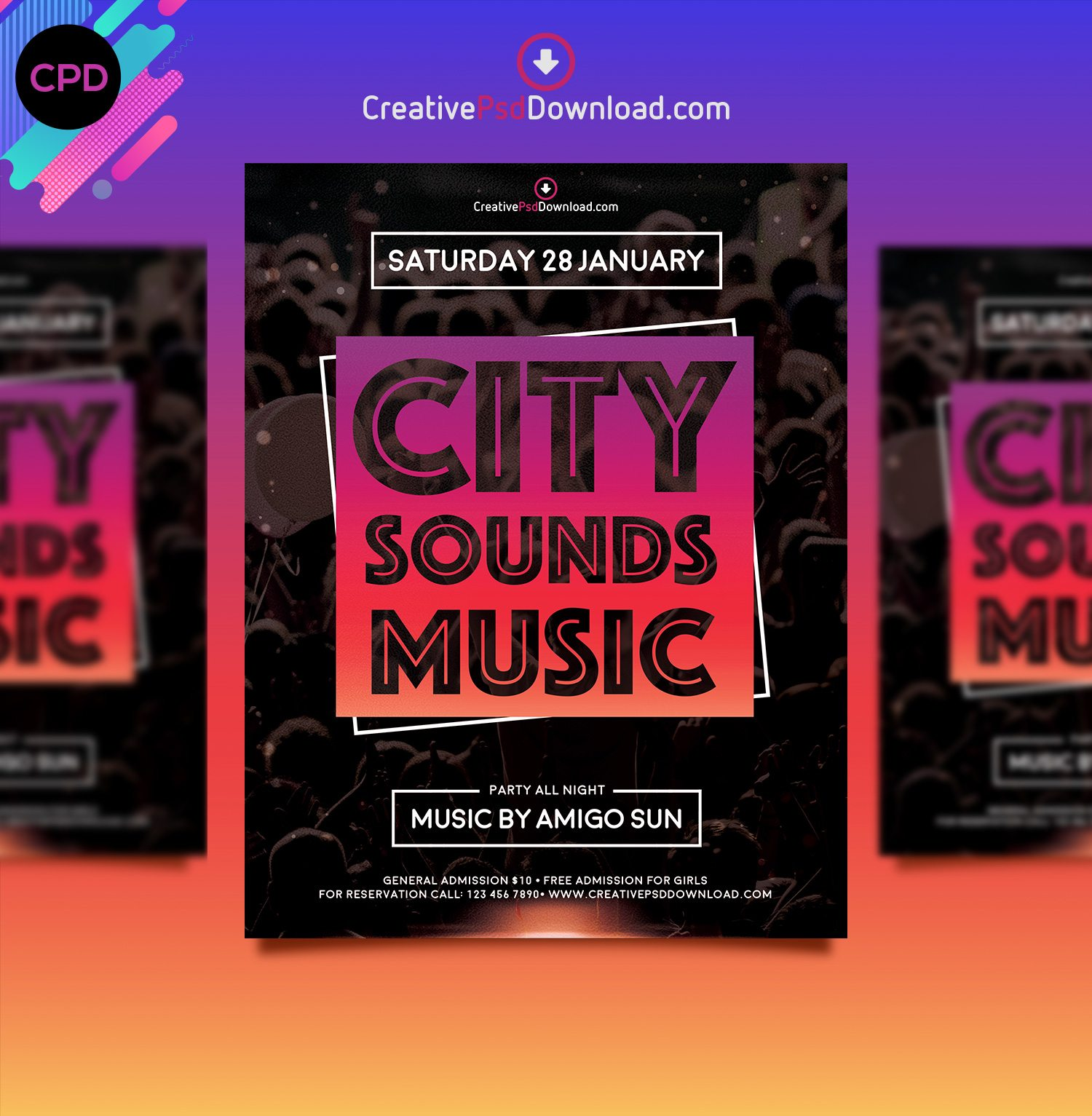 City Sounds Music Premium Flyer Template Thumbnail