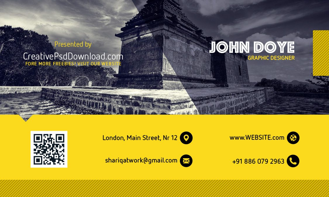 Creative Yellow And Grey Business Card Mockup PSD Front