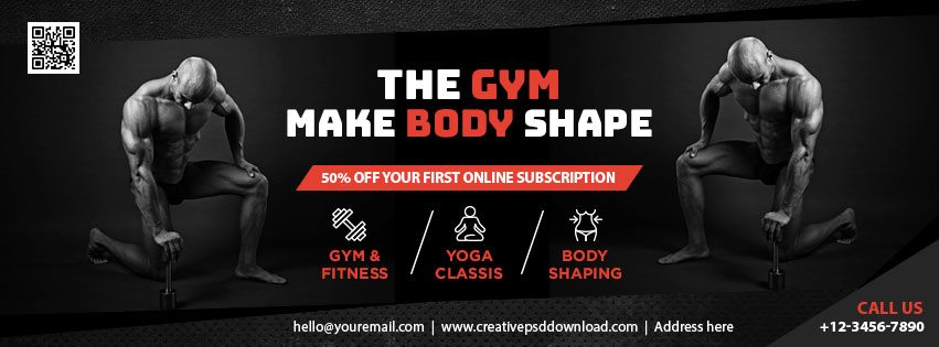 The Gym Facebook Fanpage Cover Free PSD