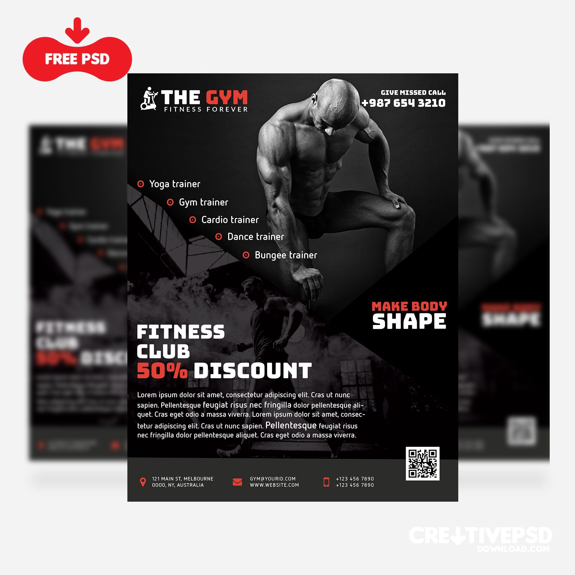 The Gym Fitness Flyer Freebie PSD