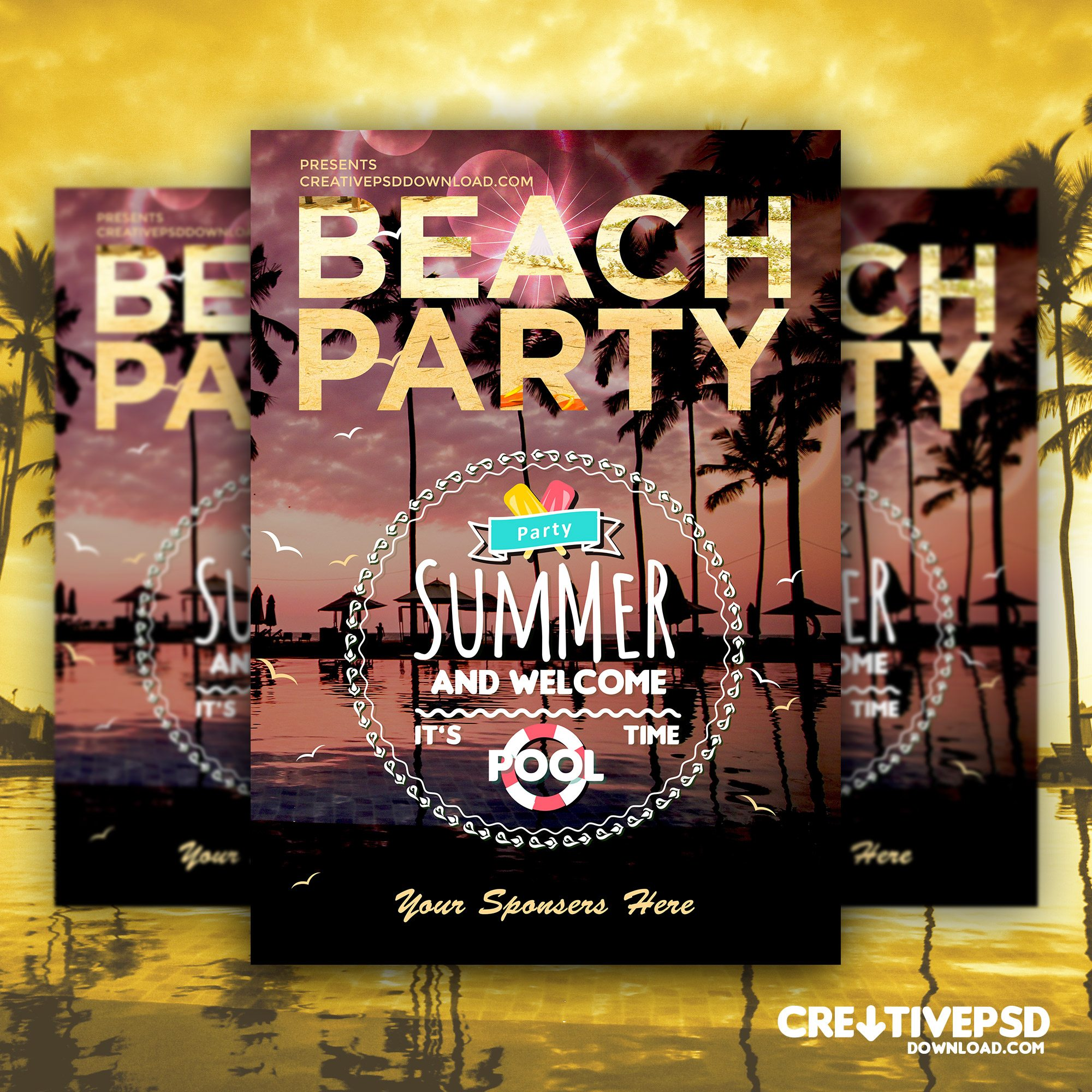 Summer Beach Party Flyer Free PSD