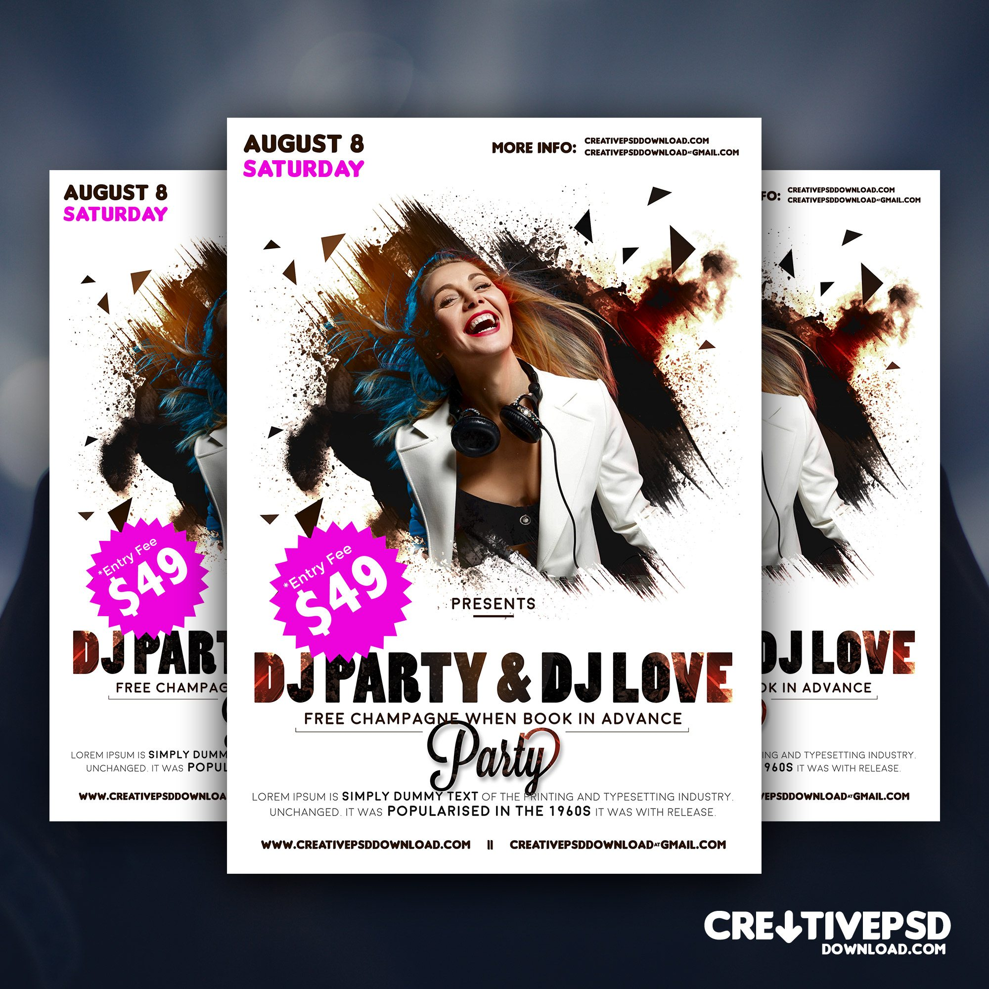 Party Flyer Free PSD Mockup