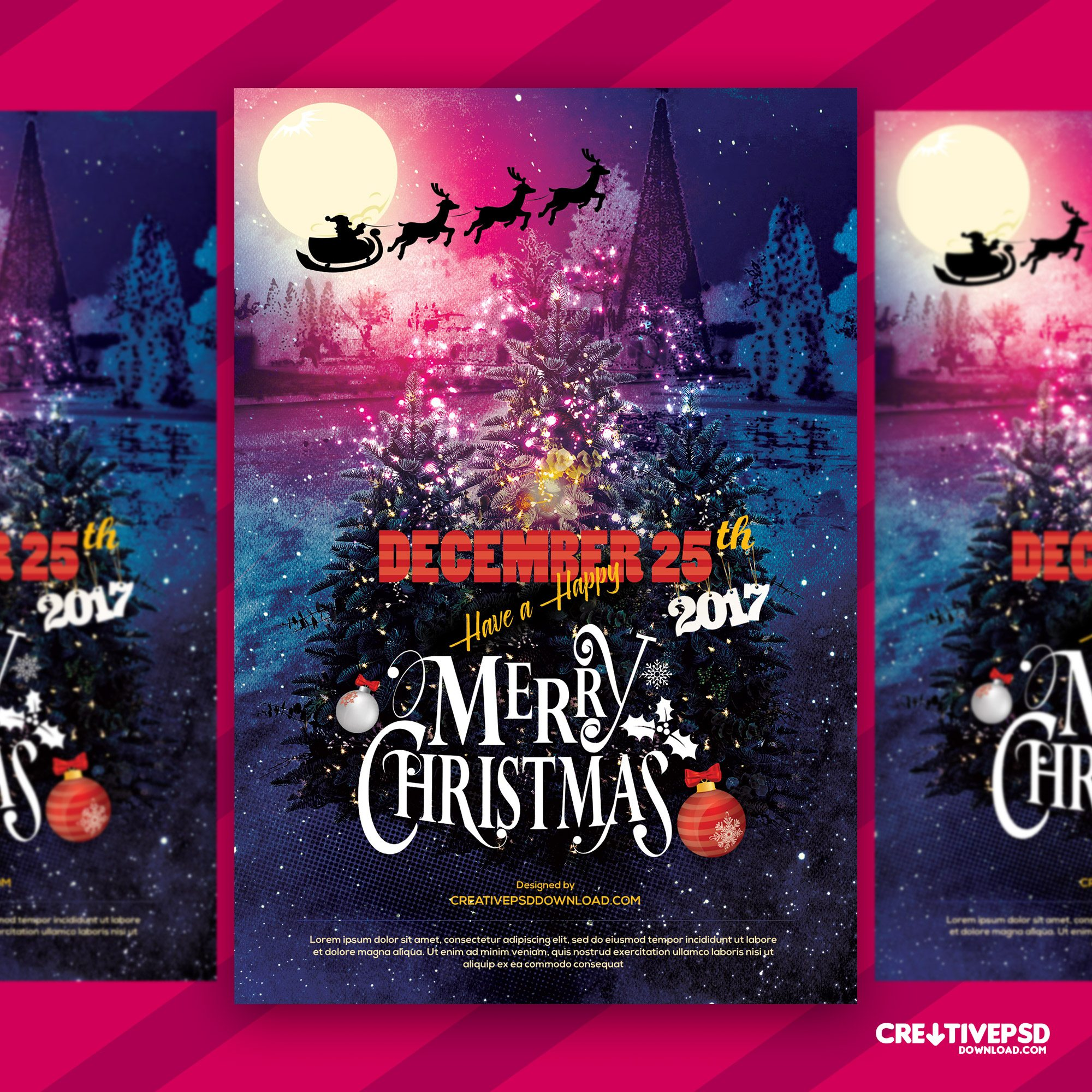 Merry Christmas Wishing Flyer Free PSD