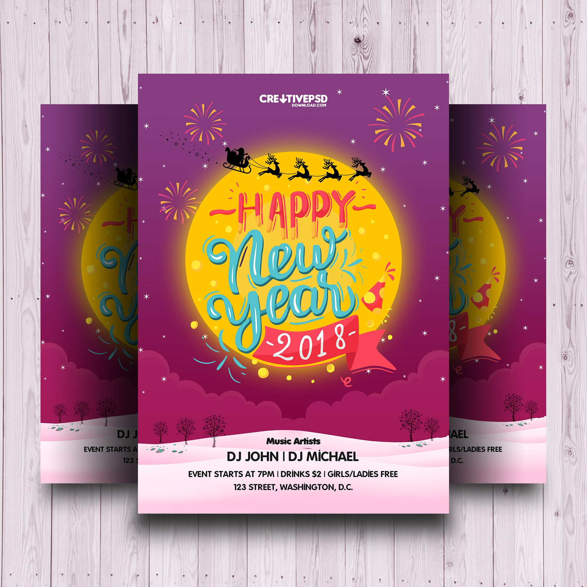 new years eve flyer template, new years eve templates free, new years eve 2017 flyer, new years eve poster templates free, new years eve party poster templates free, new years eve poster designs, new year party poster, new years eve party invitation templates free, 2018 Happy New Year Invitation Flyer PSD