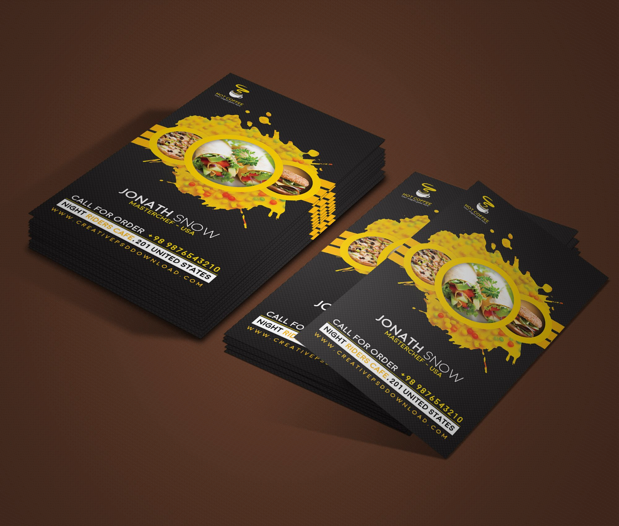 Cafe Vertical Business Card PSD Mockup Freebie