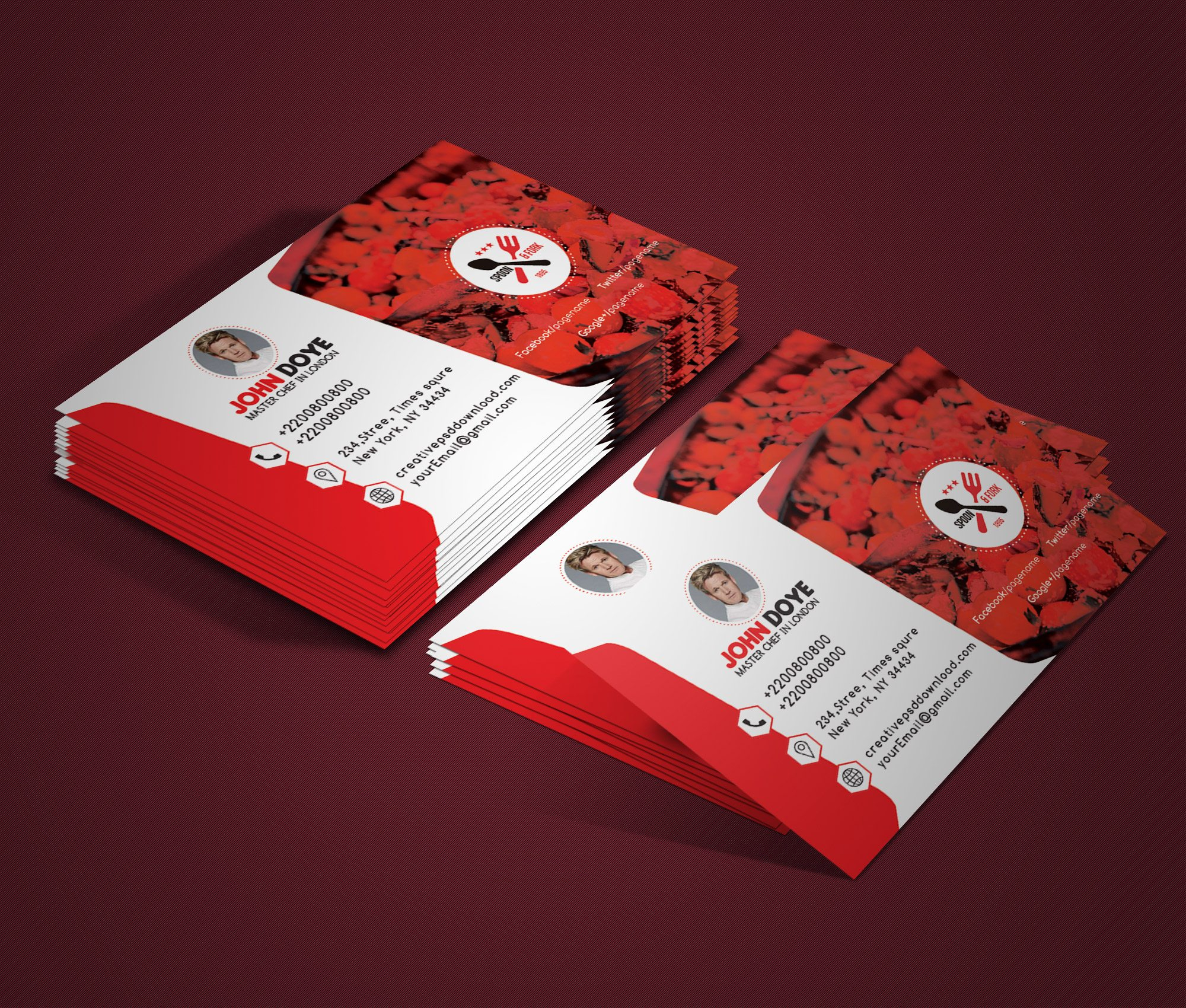 Chef Business Card Free PSD Mockup