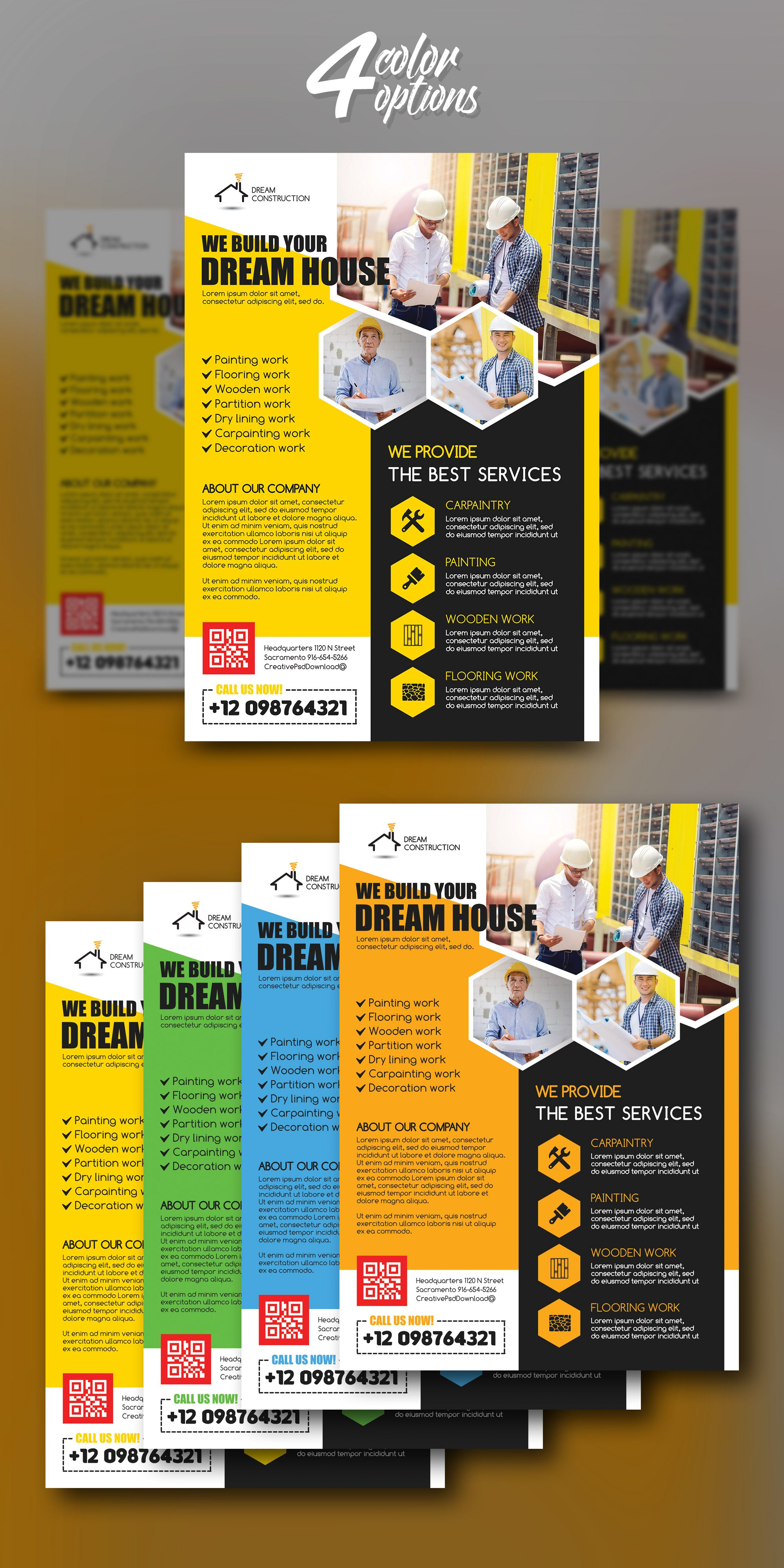 Construction Flyer PSD Bundle Freebie