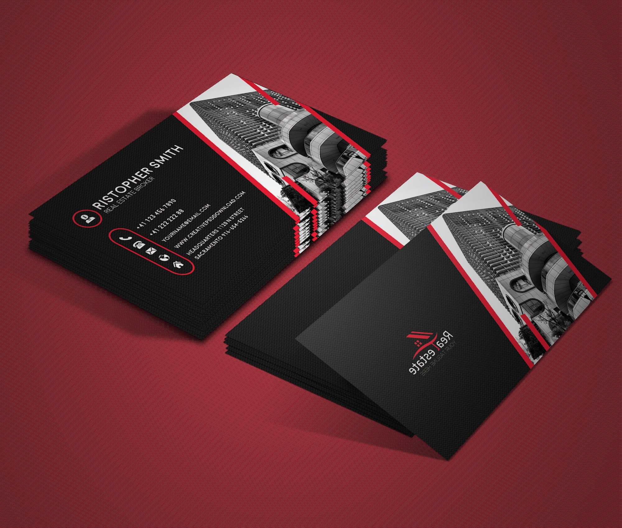 Free Real Estate Business Card PSD Template
