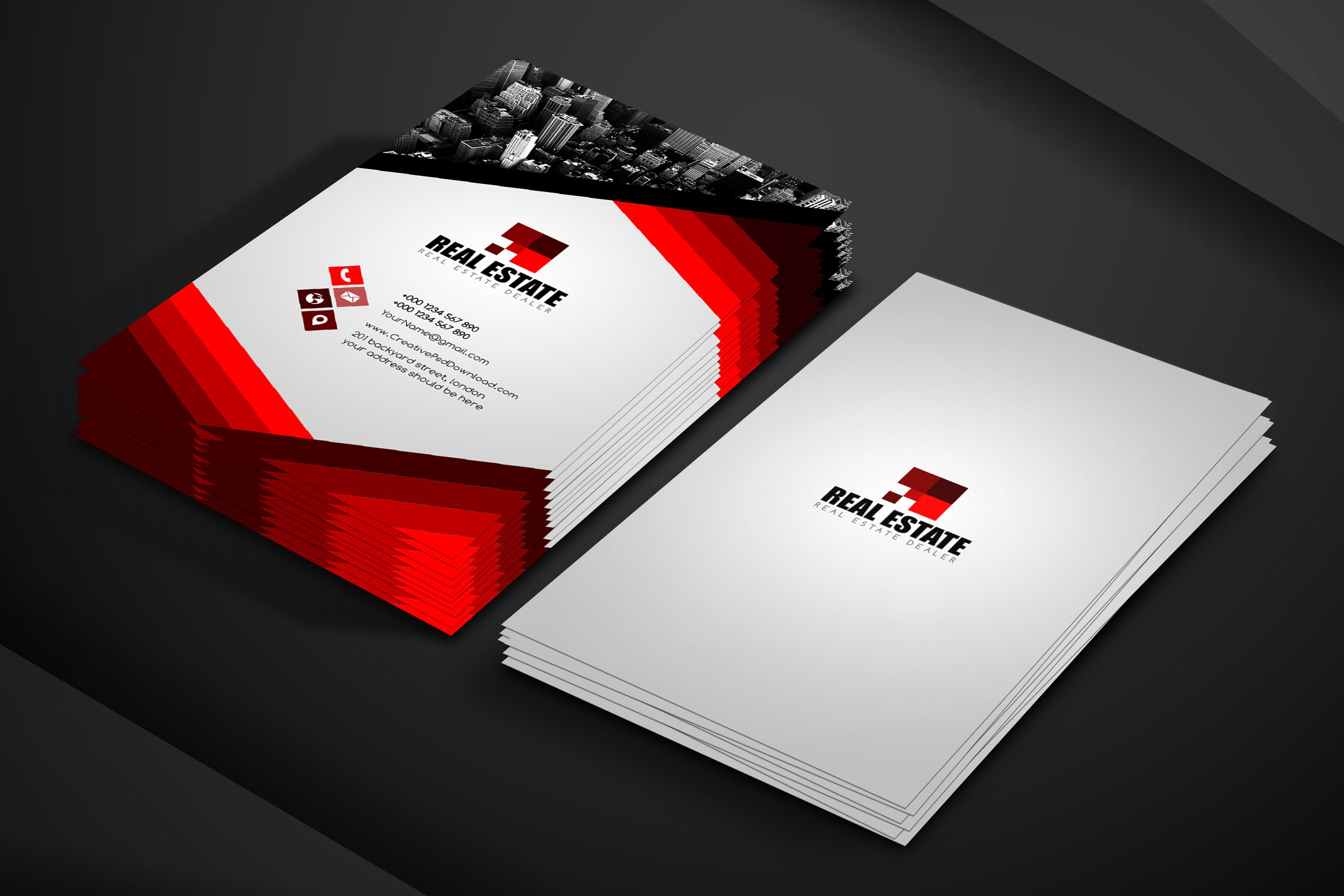 Real Estate Business Card Free PSD Template