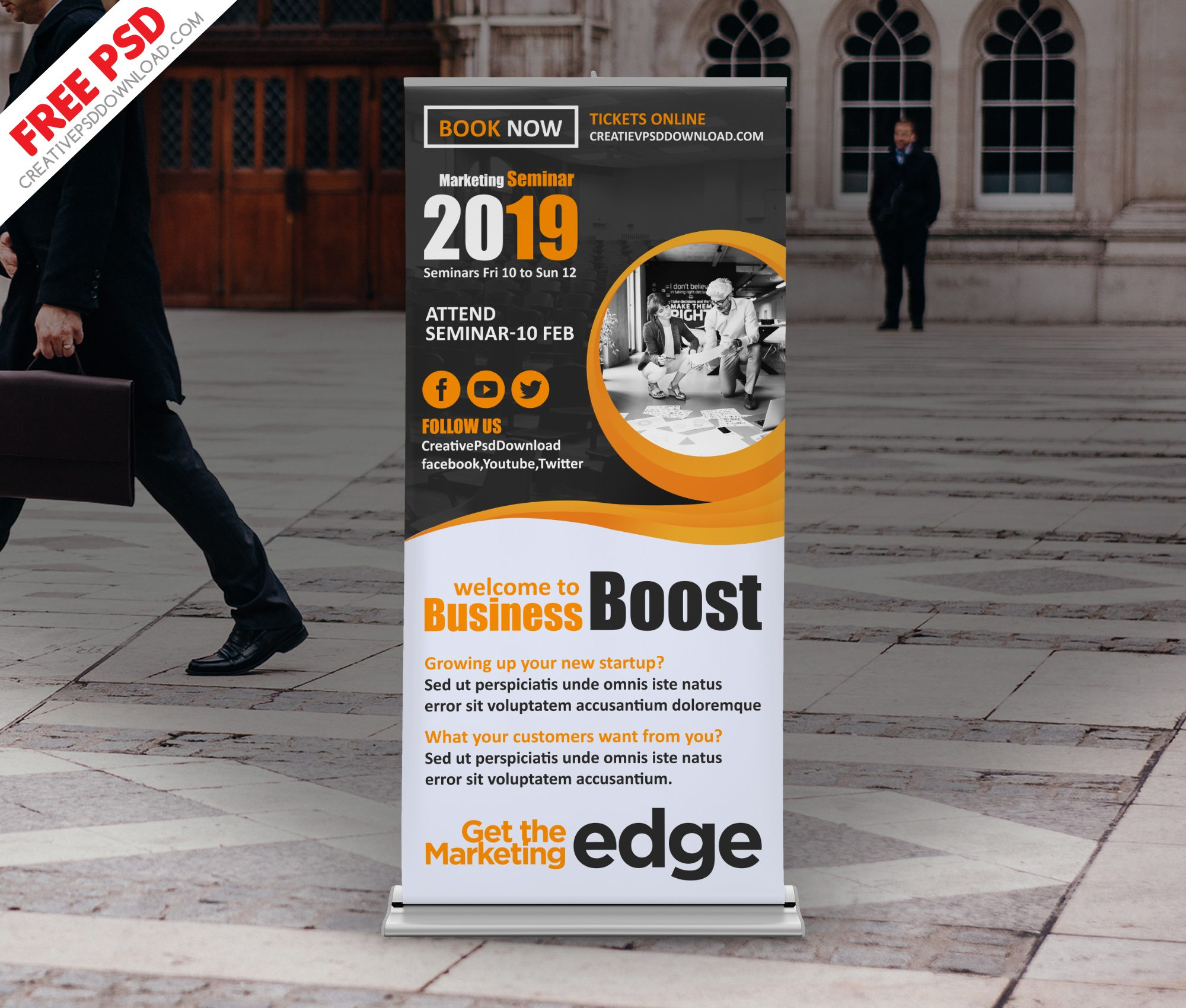 Corporate Seminar Roll-up Banner PSD Freebie