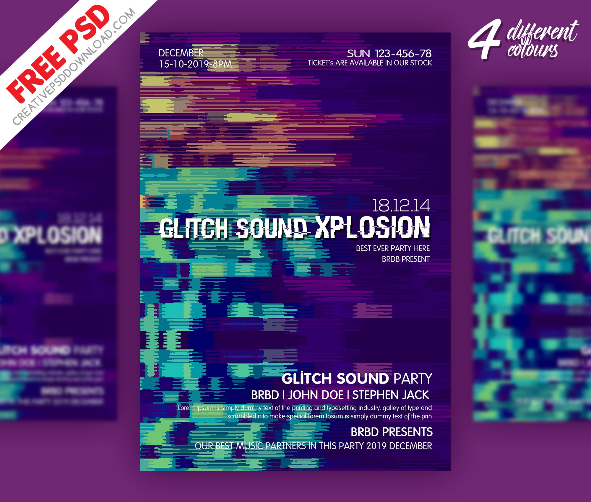 Glitch Sound Party Flyer PSD Freebie