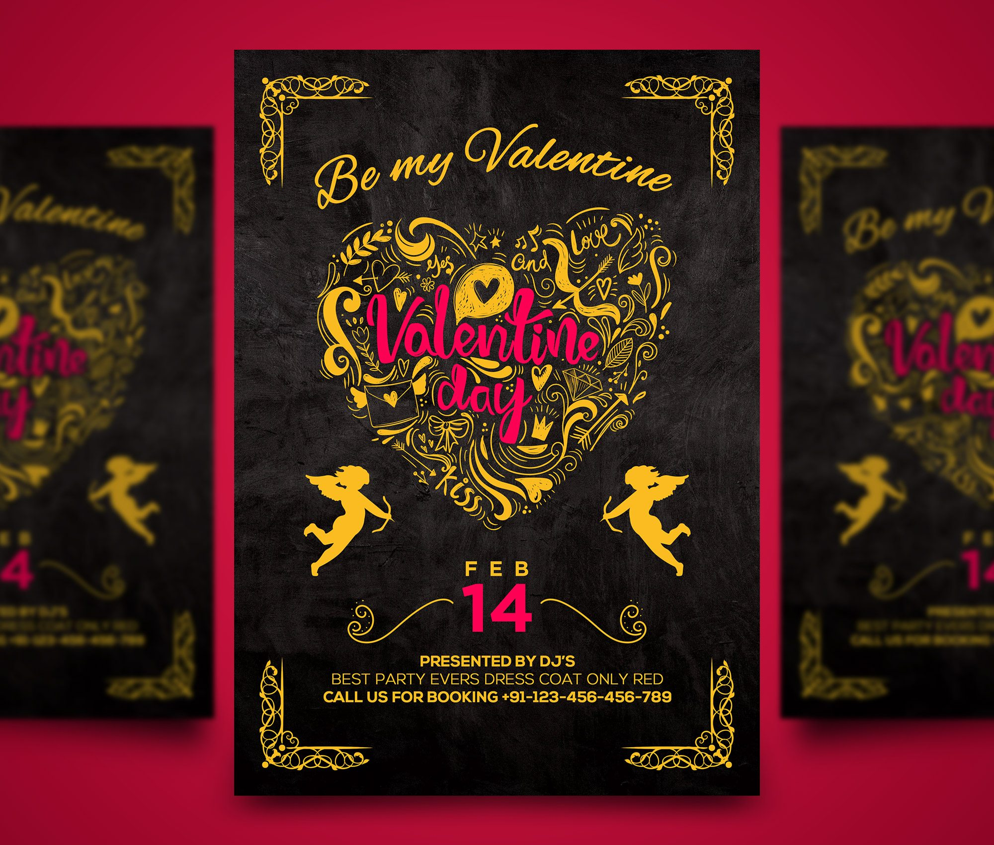 Happy Valentines Day Party Flyer PSD